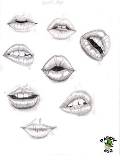 how to draw lips step by step with pencil frontal view quarters ...