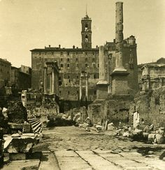 Italy Roma Forum Roman Temple of Castor and Pollux old NPG Stereo Photo 1900