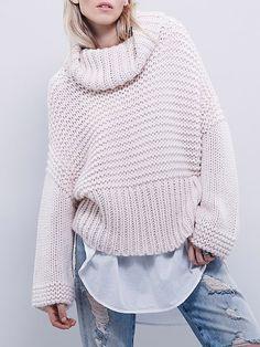 Draped Neck Loose Pink Sweater 21.67