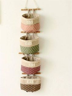 Alishare 4 Pockets Linen Cotton Fabric Pouch Wall Door Closet Hanging Storage Organizer Bag Multi-Functional Living Room Bedroom Bathroom Saver Basket Bucket crafts for bedroom, Wall Hanging Storage, Hanging Organizer, Fabric Crafts, Sewing Crafts, Sewing Projects, Fabric Storage, Bag Storage, Storage Basket, Closet Storage