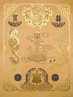 Feng Shui, golden grafic art, size 60x80cm, by Alexey Volgutskov