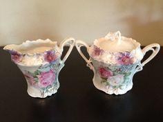 RS Prussia Antique Floral Lidded Sugar Bowl Creamer Marked | eBay