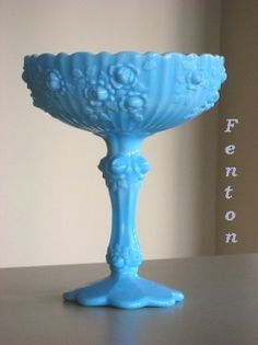 Fenton Glass | Blue Slag Compote | Old Luxe