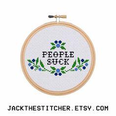 People Suck Introvert Subversive Modern Cross Stitch Template Pattern Instant…
