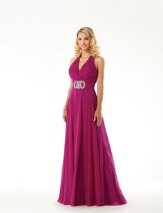 A-line Halter Neckline Shirred Bodice Beaded Waist Chiffon Evening Dress-soe0052,  $178.95