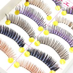 10 Pairs/set Different Colors Handmade Eyelash Colored False Eyelashes Costume Party Lengthening EyeLash Natural