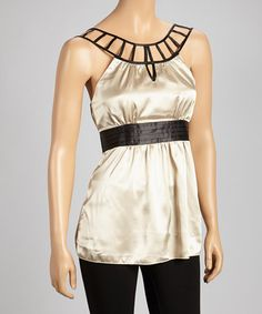 Take a look at this Gold & Black Cutout Tank by Papillon Imports on #zulily today! $24 !!