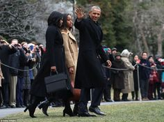 Obama (pictured with Michelle and Malia leaving the White House) delivered remarks before ...