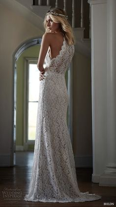 "BHLDN Spring 2016 Bridal Collection | Wedding Inspirasi | ""Mina"" -- Beautiful Sleeveless Embroidered Lace Column/Sheath Bridal Gown Featuring A Halter Neckline & Puddle Train.... This Lace Gown Has A Very Elegant Boho/Shabby Chic Vibe To It"