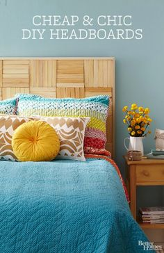 A Faux Woven Headboard with Wood Shims
