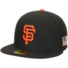 the best attitude b64a1 132f7 San Francisco Giants New Era Authentic Collection On-Field US Flag Patch  59FIFTY Fitted Hat - Black