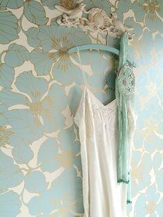 Buy Harlequin Wallpaper, Passion 30720, Duck Egg / Cream / Gold online at JohnLewis.com - John Lewis
