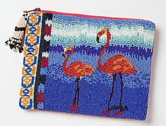 Beaded flamingo coin pouch