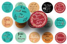 Create a variety of uplifting creations with these religious sayings 1 inch circles. These printable religious quotes are perfect for making bottle cap necklaces, necklaces, key chains, magnets and more!