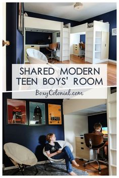 Designing a shared modern teen boys' room in a small space: Ikea loft beds, Harry Potter posters, and spinny desk chairs #ikea #kidsroom #teenroom #modern #midcentury