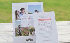 Trouwkaart eigen foto's met uitnodiging #bruiloft #typografisch #roze | charlyfine.nl