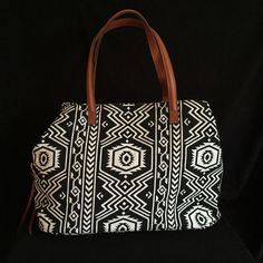 Sole Society Millie Black/White Aztec Fabric Faux Leather Satchel Travel Bag #SoleSociety #Satcheltravelbag