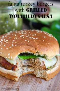 Fajita Turkey Burgers with Grilled Tomatillo Salsa by @Jenna (Eat, Live, Run)