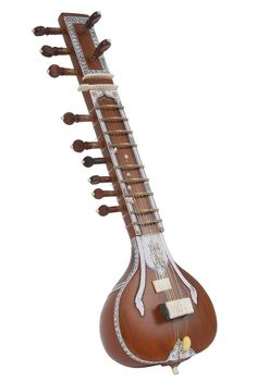This is our miniature version of the Standard Dark Sitar. Standard decorations, no rear toomba, 5 main, 2 chikari and 4 sympathetic strings. Sitar Instrument, Guitar Musical Instrument, Indian Musical Instruments, Native Instruments, Decorative Accessories, Decorative Items, Banjo, Classical Music, Vintage Posters