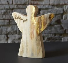 Engel, Schutzengel, c-groß, Holzdeko mit 23 kt Blattgold | HOLZLIEBE-ISERLOHN | WOHNACCESSOIRES AUS HOLZ | MADE IN GERMANY