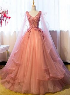 Ball Gown Prom Dress, Quinceanera Dresses Vintage Ball Gown V-Neck Appliques Beading Floor-Length Quinceanera Ball Gown Dress Shop Short, long ball gowns, Prom ballroom dresses & ball skirts Pretty ball gowns, puffy formal ball dresses & gown Princess Prom Dresses, Princess Ball Gowns, Pink Princess Dress, Vintage Princess, Ball Gowns Prom, Ball Gown Dresses, Pink Ball Gowns, Ball Gowns Fantasy, Lace Prom Dresses