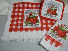 3 set Vintage 70s Strawberry Gingham Kitchen Towel Pot Holder Dish Cloth NEW