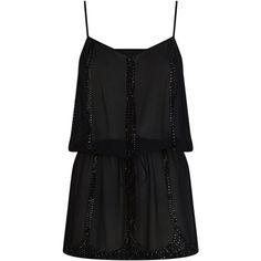 Elizabeth Hurley Embellished Drop Waist Camisole Dress ($390) ❤ liked on Polyvore featuring dresses, spaghetti strap dress, semi sheer dress, spaghetti strap cami, panel dress and embelished dress