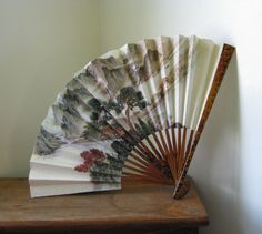 Paper Hand Fan / Japanese Fan by Natural Vintage on Etsy