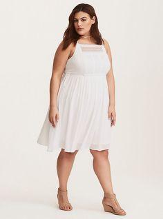 White Gauze Crochet Inset Skater Dress, BRIGHT WHITE