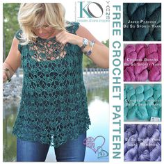 "This GORGEOUS top is easy to crochet from the top down. The raglan shaping  is worked within the stitch pattern. The whole top is worked in the round  and it is completely seamless. Sizes range from 36"" bust to 52"" bust with  ample flounce to showcase the yarn's incredible drape at the"