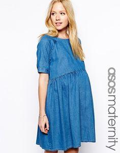 ASOS Maternity Smock Dress In Denim $75