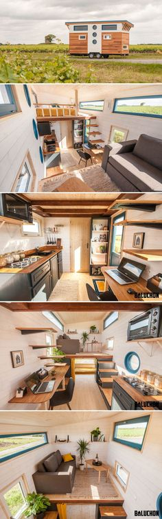 With its inverted loft space, the Valhalla by Baluchon provides a main floor kid's bedroom and upstairs lounge area. This tiny house was built as a primary residence for a couple, Lena and Lambert, and their son, Issac.