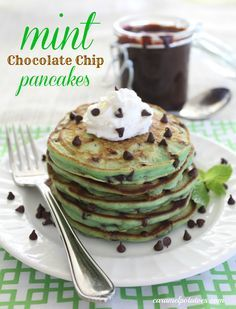 Mint Chocolate Chip Pancakes!  Add a little hot fudge and whipped cream {even ice cream} for a fun St. Patrick's Day . . . or any day treat!