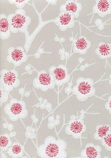 Kirsikkapuu wallpaper by Pihlgren & Ritola is adorned with blooming cherry flowers designed by Ritva Kronlund. The charm of Pihlgren & Ritola's wallpapers lies in their beautiful patterns but also in the traditional manufacturing method.