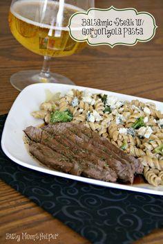 Olive Garden Copy Cat: Steak Gorgonzola with Balsamic Glaze & Pasta / www.BusyMomsHelper.com