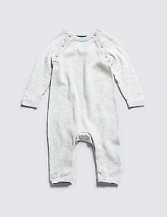Grey Marl Pure Cotton Knitted All-in-One