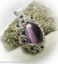 Deep Purple Cat's Eye Silver Wire Wrapped by superioragates, $45.00