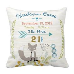 Birth Stats Baby Boy Woodland Creatures Fox Pillows