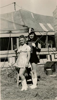 Harriet Beatty with a friend, Her name is unknown to me. Clyde Beatty Circus mid 1940′s.