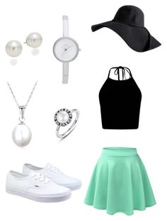 """""""A touch of mint"""" by chaleigh on Polyvore featuring LE3NO, Vans, AK Anne Klein and DKNY"""