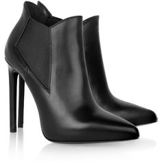 Saint Laurent Leather ankle boots ($650) ❤ liked on Polyvore