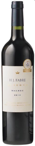 2010 H J. Fabre Malbec HJ Fabre Reserva - from Zagat's club. Nice full wine, stood up to spicy food. Fruity, but not very complex.
