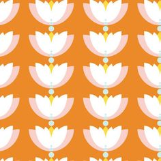 Cloud-9-Organic-Fabric-Lotus-Pond-Lotus-Drop-Orange-100-Cotton-FQ