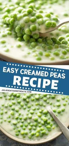 This Easy Creamed Peas Recipe comes together quickly it is perfect for dinner parties! An easy holiday side dish recipe these hearty and healthy creamed peas are pretty amazing when it blends with gravy. A must-try Thanksgiving peas recipe! Pin this for Dinner Side Dishes, Dinner Sides, Side Dishes Easy, Vegetable Side Dishes, Pea Recipes, Side Dish Recipes, Vegetable Recipes, Recipe Recipe, Kitchens