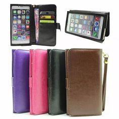 Wallet Card Mobile Phone Touch Screen Leather Case Hand Strap Pouch For Xiaomi Redmi Note 4,ZTE Blade A610