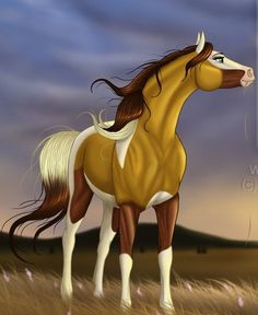 I think this might be Spirit and Rain's daughter? I don't know but good job artist Spirit The Horse, Spirit And Rain, Pretty Horses, Horse Love, Beautiful Horses, Horse Drawings, Animal Drawings, Cute Drawings, Horse Animation