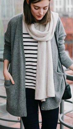 striped shirt & grey cardigan
