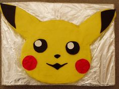 the birthday cake I made for my daughter's birthday Pikachu her favourite Pokemon. He is chocolate cake under tons of icing! Pokemon Birthday Cake, Pokemon Party, Birthday Cupcakes, Boy Birthday Parties, 8th Birthday, Pokemon Cakes, Birthday Ideas, Pikachu Pikachu, Pikachu Cake