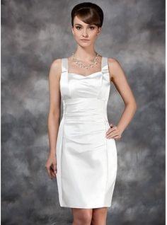 Forme Fourreau/Colonne Bustier en coeur Mi-longues Charmeuse Robe de mariée avec Plissé (002012748) - JJsHouse