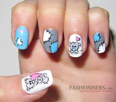 17 Love-Inspired Valentine's Day Nail Art Designs: Me To You Bear Nails  #nails #nailart #naildesigns